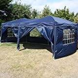 Andes 6x3m Navy Blue Folding Pop-Up Waterproof Garden Gazebo With Side Wall Pack And 2 Doors