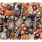Approx 250 x Arabian Nights Ethnic orange brown Jewellery Making Starter Beads Mix Set