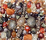 Approx 285 x Arabian Nights Ethnic orange brown Jewellery Making Starter Beads Mix Set