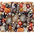 Approx 285 x Arabian Nights Ethnic orange brown Jewellery Making Starter Beads Mix Set