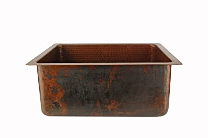 Premier Copper Products BREC20DB 20-Inch Universal Gourmet Rectangular Hammered Copper Kitchen Single Basin Sink, Oil Rubbed Bronze
