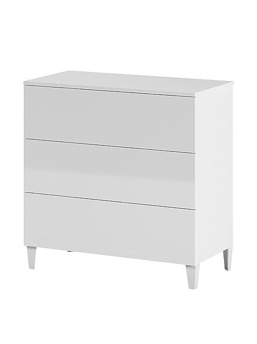 Habitdesign 007833bo–Comoda im nordischen Stil, Ausfuhrung weiß glänzend, Maße 76x 80x 40