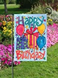 Happy Birthday - Gifts & Balloons Garden Size 12 Inch X 18 Inch Decorative Flag