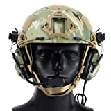 Womdee Tactical Headset, Electronic Shooting Earmuff Aviation Headset, Ear Protection Noise Reduction Sound Amplification Ear Muffs for Fast Helmets and Peltor Helmet Rail Adapter Set (Color: Color 7)