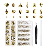 Gold Rhinestones Set 1728 Plus 120 Pieces, Round & Multi-Shape Gold Crystal Rhinestone, Gold Nail Rhinestones, Flatback Rhinestones for Nails, Clothes, Face, Jewelry