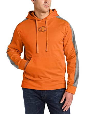Champion Men's Powertrain Tech Fleece Pullover Hood, Persimmon/Granite Heather, Small