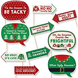 funny ugly sweater holiday christmas party photo booth props kit 10 piece - Ugly Christmas Sweater Party Decorations