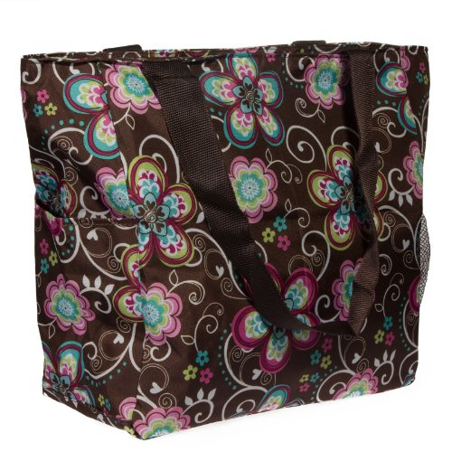 Print Shopper Beach Tote Bag (Brown Flower)