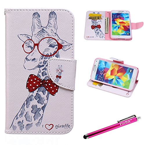 Galaxy S5 Case, Firefish [Kickstand] [Bumper] Case Flip PU Leather Wallet with Card Slot Magnetic Closure Protection phone case for Samsung Galaxy S5 - Giraffe (Lion King Gift Basket compare prices)