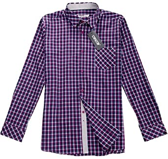 Binzii Men 39 S Purple Plaid Long Sleeves Dress Shirt Xl At