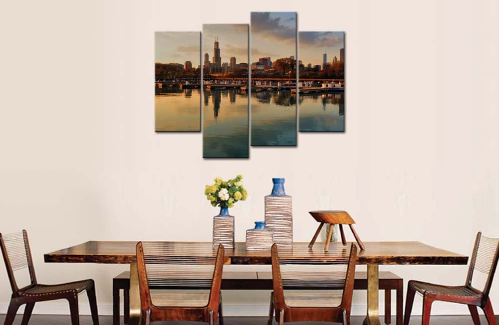 Amazon.com: So Crazy Art® 4 Panel Wall Art Painting Chicago ...