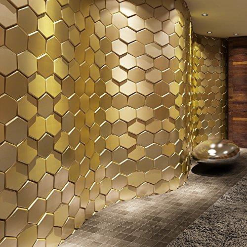 Art3d 20-Pieces Decorative 3D Wall Panel Faux Leather Tile, Golden Hexagon (Pvc Wall Panels compare prices)