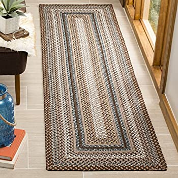 "Safavieh Braided Collection BRD313A Hand Woven Brown and Multi Runner (23"" x 8)"