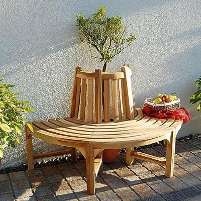 Teakholz Baumbank halber Kreis Breite: 150 cm, Tiefe: 75 cm von Ing. G. Beckmann KG auf Gartenmöbel von Du und Dein Garten