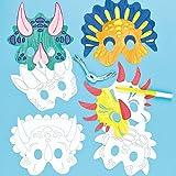 Lot de 6 Masques Dinosaures à colorier - Idéal pour les costumes de Carnaval...