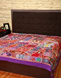 Elite Bedsheet Elephant Red Double Patch Work Cotton Bedspread By Rajrang