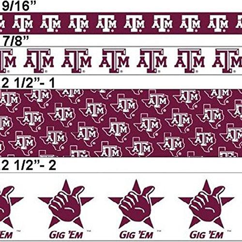 "Offray College Sports Texas A&M Aggies Ribbon, 7/8"" X 3 Yds + One Yd Custom Print"