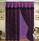 4 Pieces Faux Silk Purple with Black Zebra Window Curtain / Drape Set with Sheer Backing