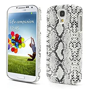 JUJEO Snake Skin Leather Coated Hard Plastic Case for Samsung Galaxy S4 IV i9500 i9502 i9505 - Non-Retail Packaging - White