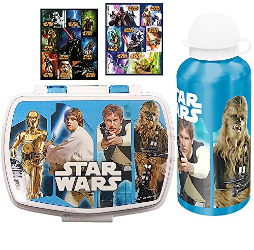 3-tlg-Set-STAR-WARS-Brotdose-Aluminium-Trinkflasche-16-Star-Wars-Sticker-Motiv-Luke-Skywalker-Han-Solo-Chewbacca-C-3PO-Lunchbox-Sportflasche