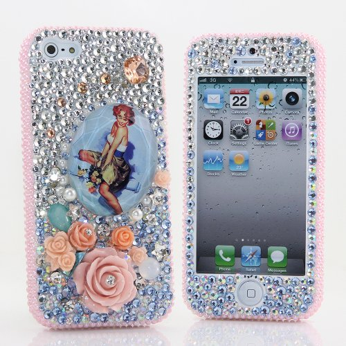 Great Price BlingAngels® 3D Luxury Bling iphone 5 5s Case Cover Faceplate Swarovski Crystals Diamond Sparkle bedazzled jeweled Design Front & Back Snap-on Hard Case + FREE Premium Quality Stylus and Water-Resistant Bag (100% Handcrafted by BlingAngels) (Vintage Girl with Pink Flower Design)