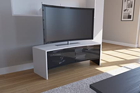 "VCM 14360 TV-Möbel ""Curvedo 130"" Holz 50 x 50 x 130 cm, Weiß"