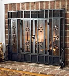 large beveled glass diamond fireplace screen