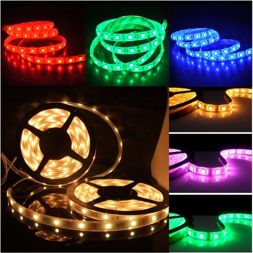 Happy Hours® Non-Waterproof 30 Led/M Rgb Color Changing Smd 5050 High Density Led Light Strip Lamp Kit Ideal For Chrismas, Party, Indoor/ Outdoor Decoration + 44 Key Remote Controller + 12 Volt Power Supply Pack Of 25 Meters