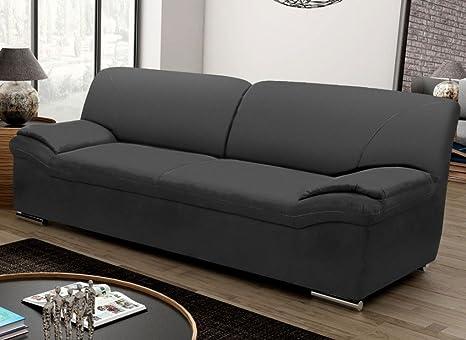 BERGAMO 3er Sofa Couch 3-Sitzer Kunstleder Schwarz