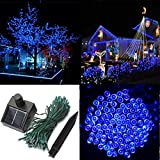 Audew Solar Powered Outdoor LED String Light, 55ft 17m 100 LED Solar Fairy String Lights for Patio, Garden, Christmas, Party, Wedding Blue