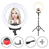 ZoMei 16-Inch Ring Light with Stand Dimmable LED Photography Light for Makeup Video Shooting Live Streaming Selfie with Cellphone Holder Carrying Bag (Color: White, Tamaño: 16 inch)