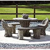 Garden Furniture - Woodlands Stone Benches & Table Patio Set