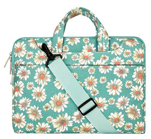 Mosiso - ラップトップ ショルダーバッグ ボヘミアンスタイル キャンバス地 13-13.3インチ ブリーフケースキャリーケース ラップトップ/ノートパソコン/MacBook/MacBook Pro/MacBook Air ( ゴールド菊)