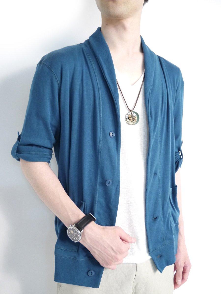 (モノマート) MONO-MART 10色 カーディガン メンズ 夏 ショール 薄手 コットン 7分袖 2way 5分袖 メンズ