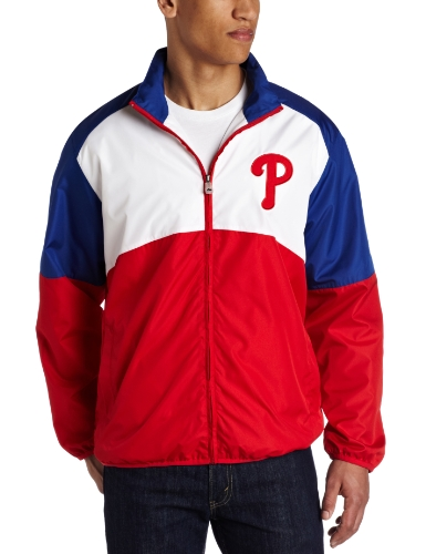 MLB Men's Philadelphia Phillies Sports Night Lightweight Full Zip Jacket (Athletic Red/Deep Royal/White, Large) at Amazon.com