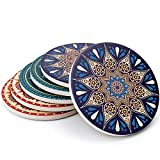 Teocera none Mandala Style Absorbent Coasters Drink Stone Cork Base, Prevent Furniture from Dirty and Scratched, 4 inch