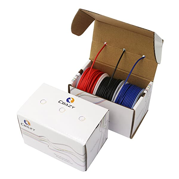 CBAZYTM Hook up Wire (Stranded Wire) 22 Gauge 1007 22AWG 30M (98 Feet) PVC Electrical Copper Wire Red+Blue+Black (Color: B-(Red+Blue+Black), Tamaño: 22AWG)