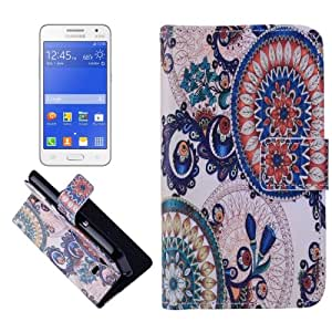 Crazy4Gadget Ornamentation Pattern Cross Texturt Flip Leather Case with Holder & Card Slots & Wallet for Samsung Galaxy Core 2 / G355