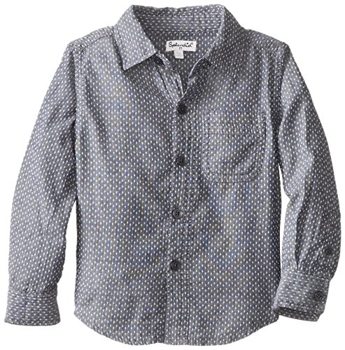 Splendid Little Boys' Dotted Chambrey Button Up, Grey, 4T front-938956