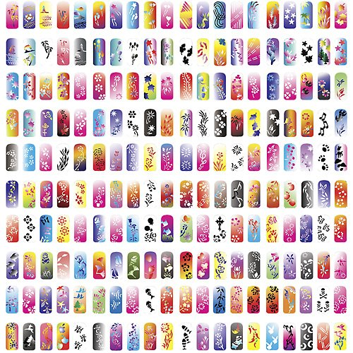 ... Airbrush Nail Art Paint Stencil Kit Design Set 1 : Nail Art Equipment