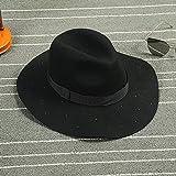 XQXGland petits chapeaux, vêtements visière laine Retro noir Haut-de-forme perles lettres gros bords magasins d'usine de chapeau pour l'enfance , black , m (56-58cm)...