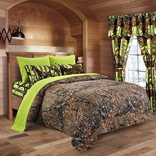 20 Lakes Camo Comforter, Sheet, & Pillowcase Set (Full, Brown - Neon Green) (Camouflage Comforter Set Full compare prices)