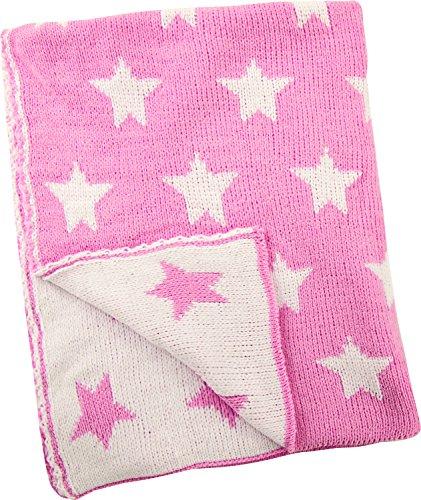 "Manual Pink Stars Baby Girl Knitted Polyester Fleece Reversible Nursery Blanket Throw 30x40"""