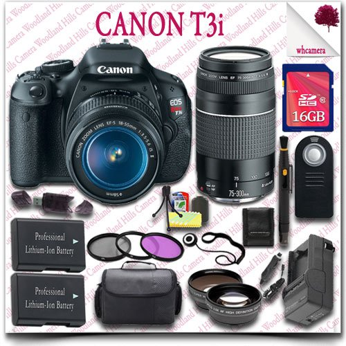 Canon Eos Rebel T3I Camera With Ef-S 18-55Mm Is Ii Lens + Canon Ef 75-300Mm Iii Lens + Wireless Remote + Wide Angle Lens / Telephoto Lens + 3Pc Filter Kit + 16Gb Sdhc Class 10 Card + Slr Gadget Bag 21Pc Canon Saver Bundle