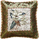 123 Creations 100-Percent Wool Magnolia Petit Point Pillow with Fabric Trimmed, 14 W x 14 H