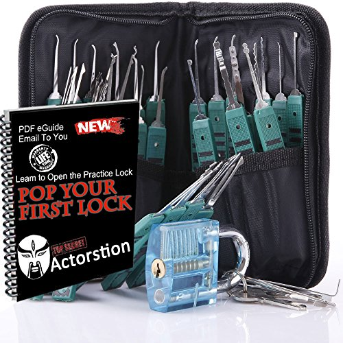 Actorstion 32 Piece Lock Pick Extractor Set for Beginners with Leather Packing Scissors + Transparent Blue Padlock for Unlocking Practice