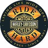 Harley-Davidson® 14'' Round Sign - Ride Hard - AR2010671 Tin