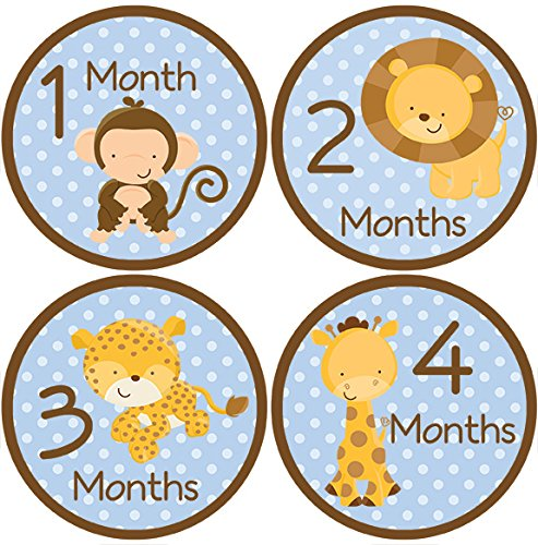 Safari Animals Baby Month Stickers For Bodysuit #31Blue