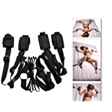 Under Bed Restraint System Slave Adjustable Straps Set Hand Wrist Ankle Cuffs Black Couple Fantasy Sex Toy (Color: OneColor, Tamaño: One Size)