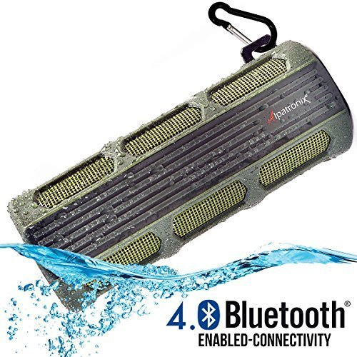 Waterproof Bluetooth Speaker, Alpatronix® [AX410: Heavy-Duty & Rugged] Ultra Portable Wireless 12-Watt Stereo Speaker with Shockproof, Dustproof, Splashproof, Water-Resistant Features includes Bluetooth 4.0, Built-In 3000mAh Rechargeable Battery, Enhanced Super BASS with Subwoofer, Built-In Microphone, Speakerphone & Playback Controls [Compatible w/ iPod, iPad, iPhone, Android Devices, Smartphones, Laptops & Desktop PC / Carabiner Included, Fits Easily in Bicycle Water Bottle Cages] - (Green)